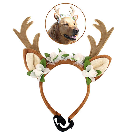 Pet Costume Antlers Headbands with Ears Adjustable Flexible for Dogs