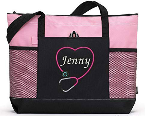 Personalized Nurse Tote Bag with Mesh Pockets
