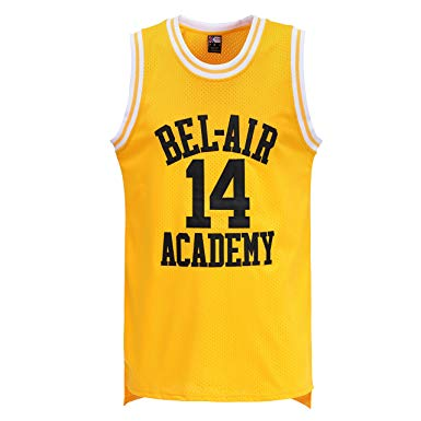 MOLPE Smith #14 Bel Air Academy Yellow Basketball Jersey