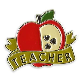 Red Apple Teacher Pin