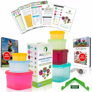 21 Day Portion Control Containers (7 Piece) Colored Set Meal Prep Kit for Diet Weight Loss