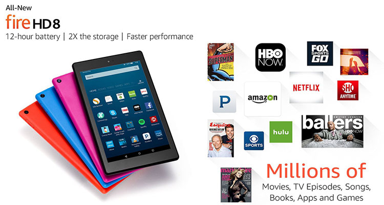 """All-New Fire HD 8 Tablet, 8"""" HD Display, Wi-Fi, 16 GB"""