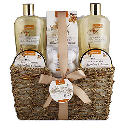 Home Spa Gift Basket - White Rose & Jasmine