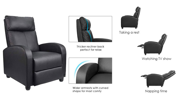 Homall Manual Recliner Chair Padded Seat