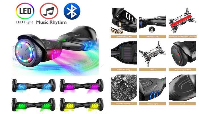 TOMOLOO Music-Rhythmed Hover Board