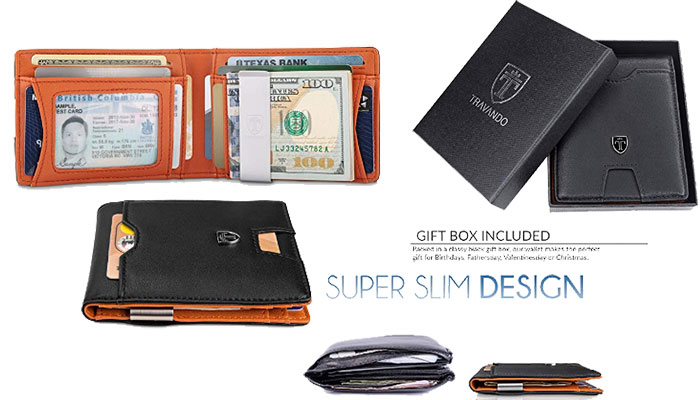 TRAVANDO Slim Wallet with Money Clip