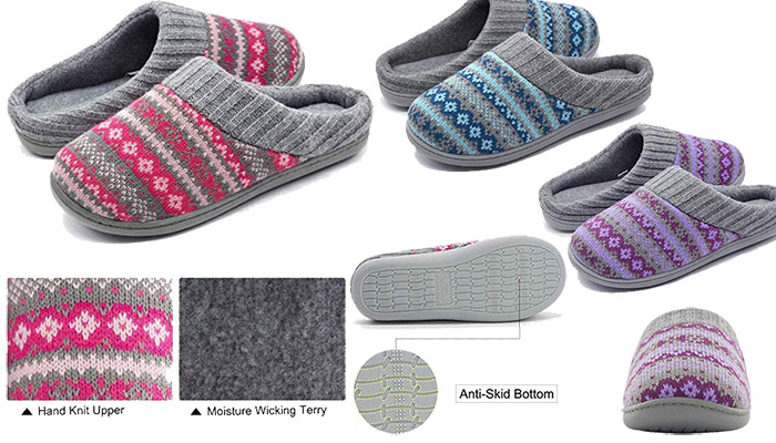 Women's Cute Sweater Knit Memory Foam Slipper